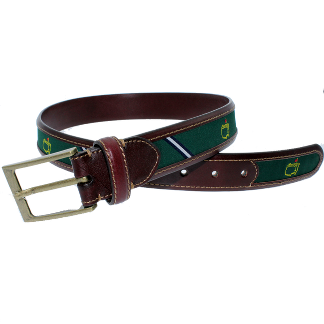 Masters Green & Navy Logo Belt With Leather