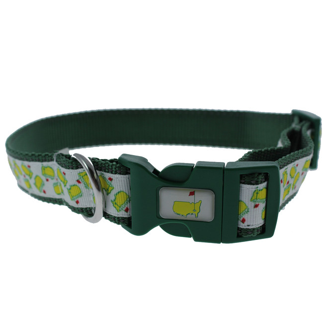 Masters White Logo Dog Collar - Green Trim on Collar