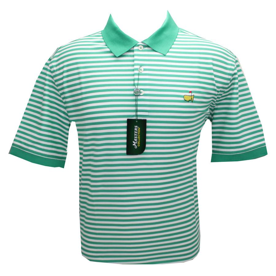 Masters Polo Golf Shirt - Holly & White Stripes- 100% Pima Cotton