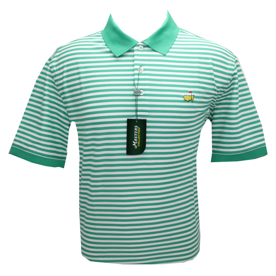 Masters pique polo golf shirt holly and white stripes for Name brand golf shirts