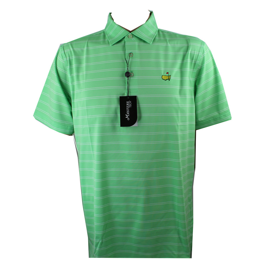 Masters Performance Tech Spring Green & White Golf Shirt
