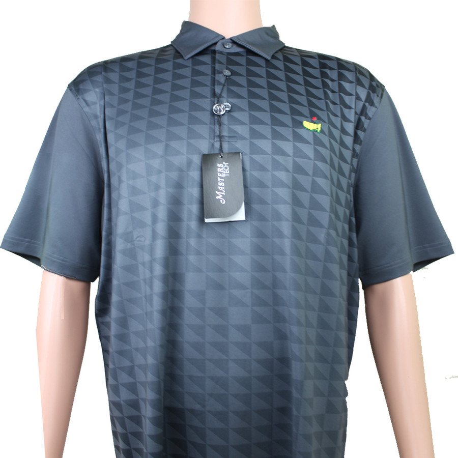 Masters Performance Tech Golf Shirt - Black & Light Grey Pattern