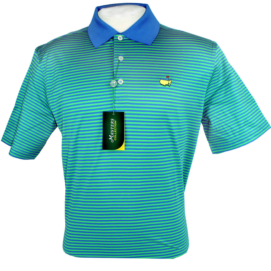 Masters Jersey Polo Golf Shirt - Navy and Lime Stripes