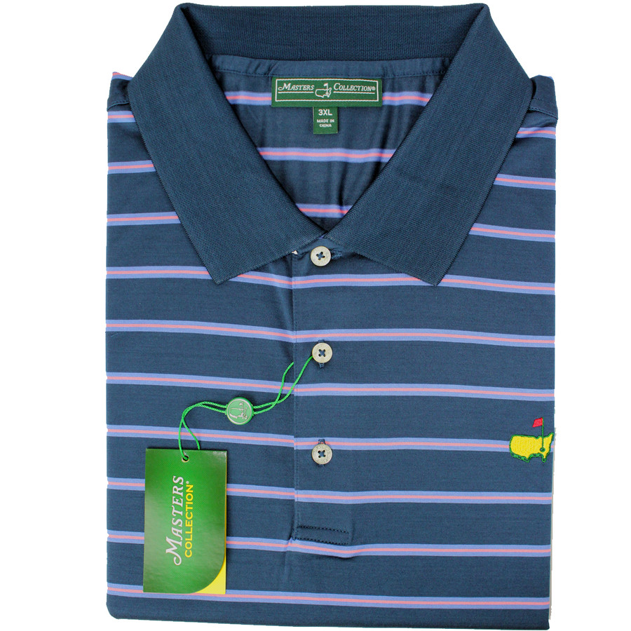 Masters Jersey Navy, Blue & Pink Striped Golf Shirt