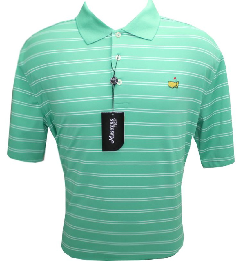 Masters Light Green & White Striped Performance Tech Golf Shirt (XL Only)