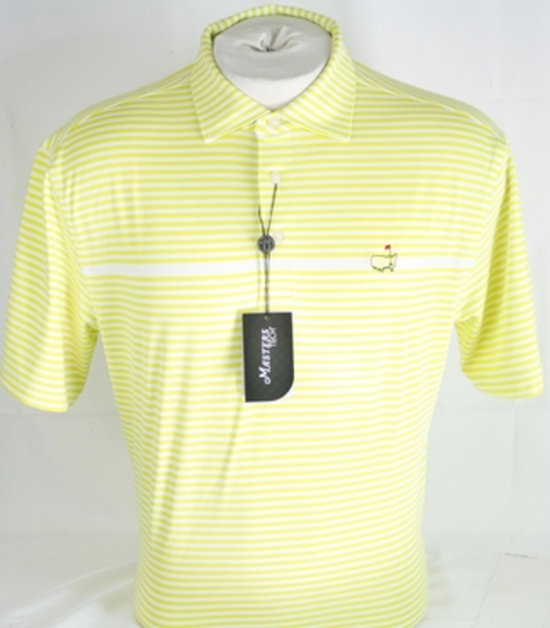 Masters Neon Green & White Striped Performance Tech Golf Shirt (XXL Only)