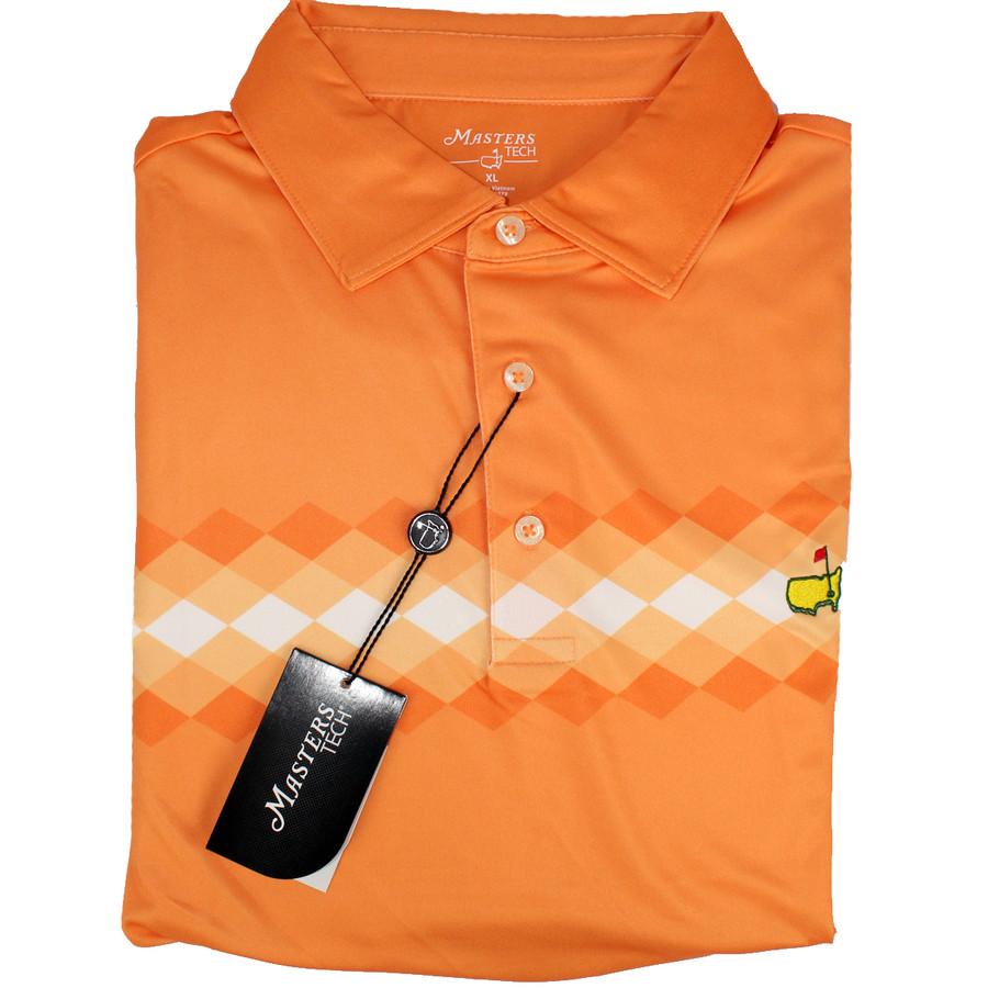Masters Orange Diamonds Performance Tech Golf Shirt