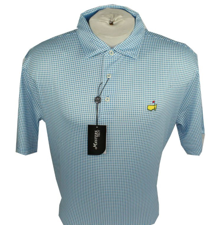 Masters Navy Blue & White Checked Performance Tech Golf Shirt (XL Only)