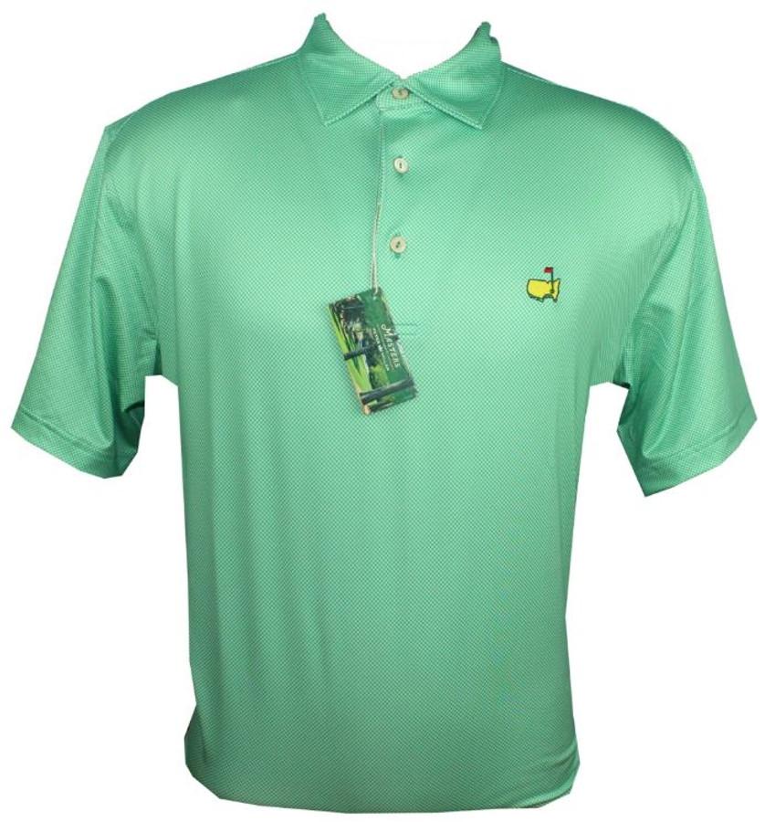Masters Peter Millar Holly Green Checked Performance Tech Golf Shirt