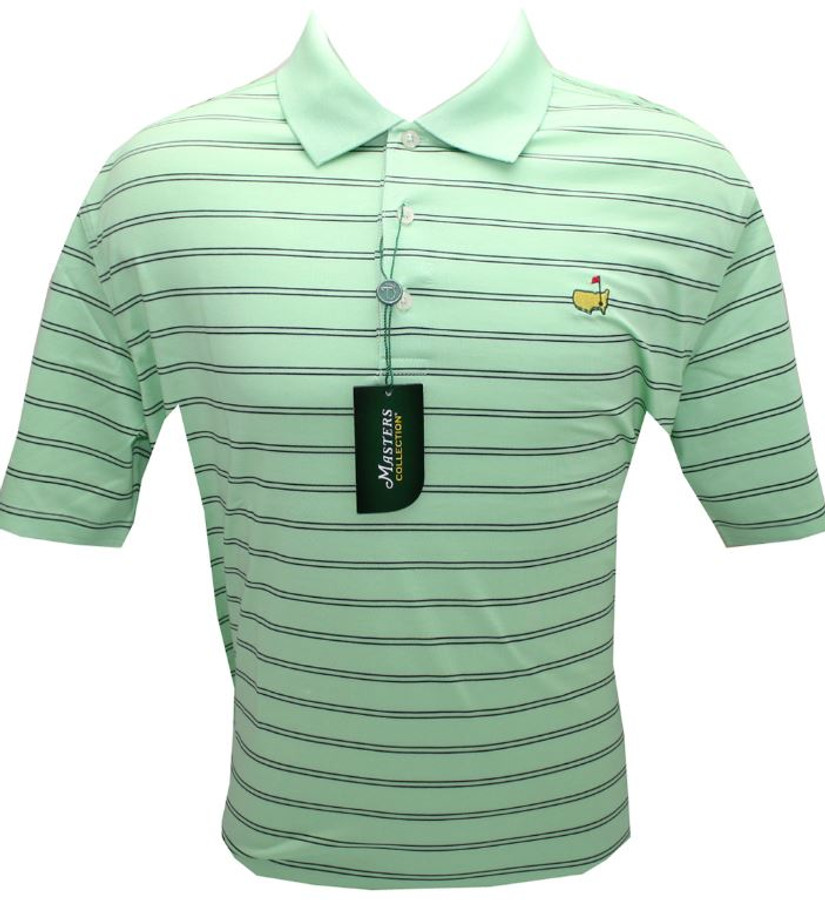Masters Lawn & Navy Striped Jersey Golf Shirt (XL Only)