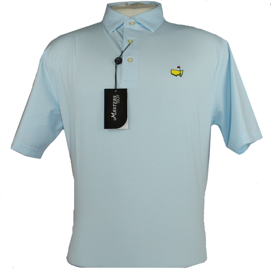 Masters Light Blue & White Thin Striped Performance Tech Golf Shirt