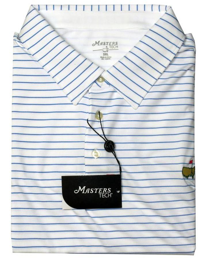 Masters White With Blue Stripes Performance Tech Golf Shirt