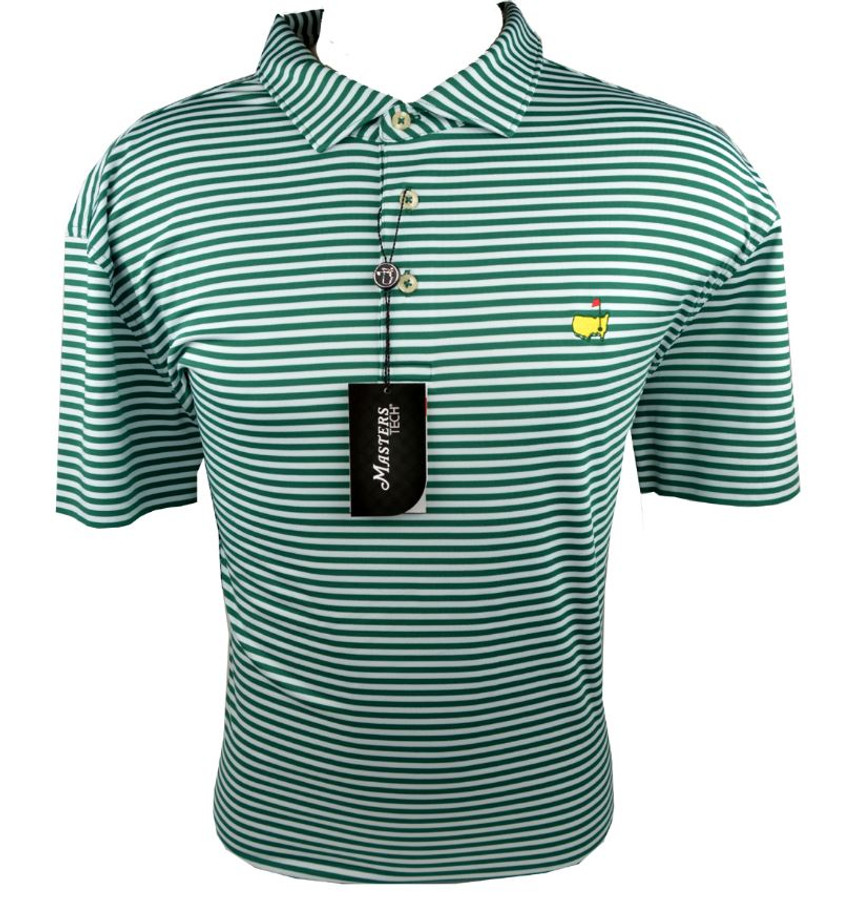 Masters Green & White Striped Performance Tech Golf Shirt