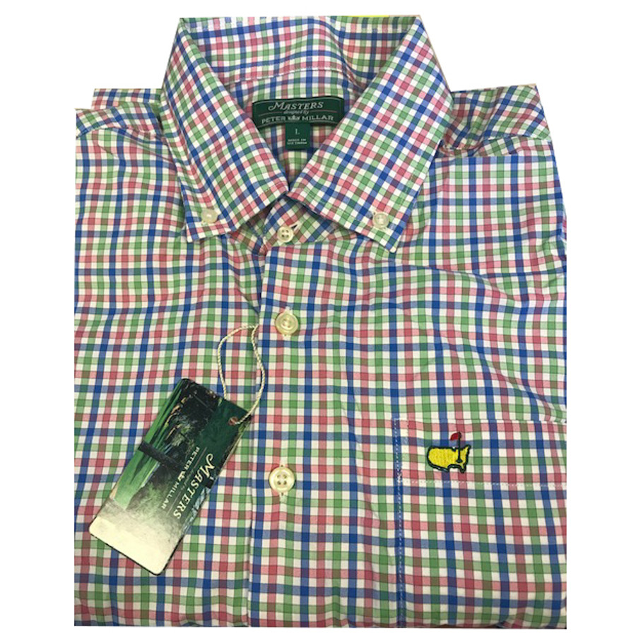 Masters Peter Millar Checkered Pink Blue and Green- Long Sleeve