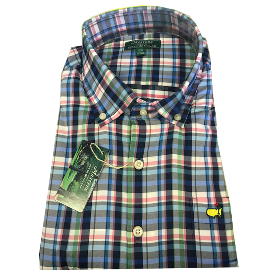 Masters Peter Millar Navy Plaid- Long Sleeve