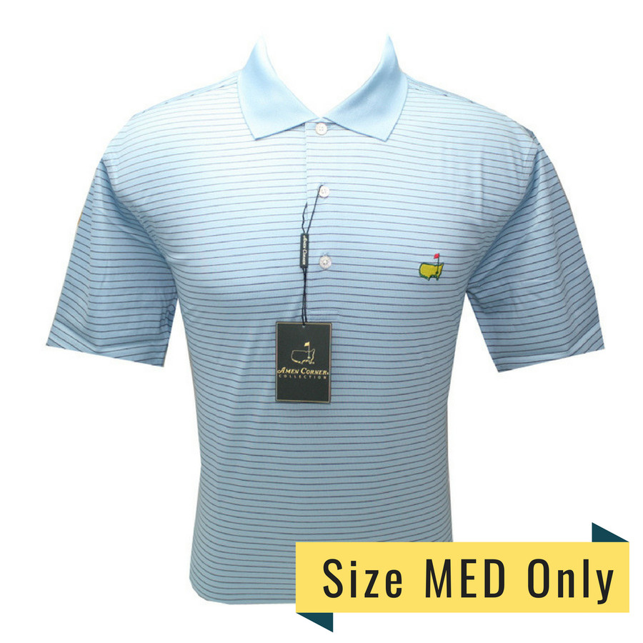 Masters Amen Corner Sky Blue and Navy Striped Polo
