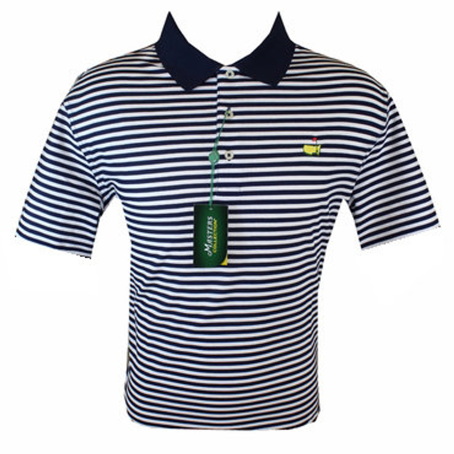 Masters Polo Shirt - Navy/White Striped 100% Pima Cotton