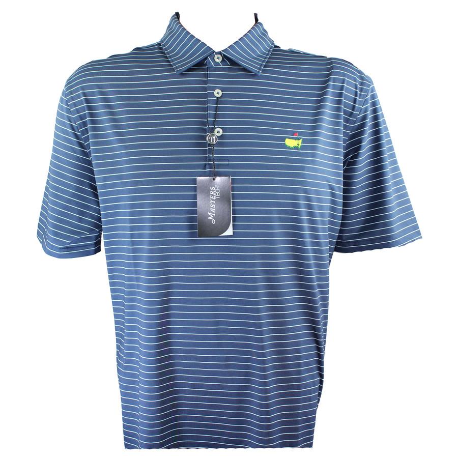 Masters Tech Navy & Thin Lite Blue Striped Golf Shirt