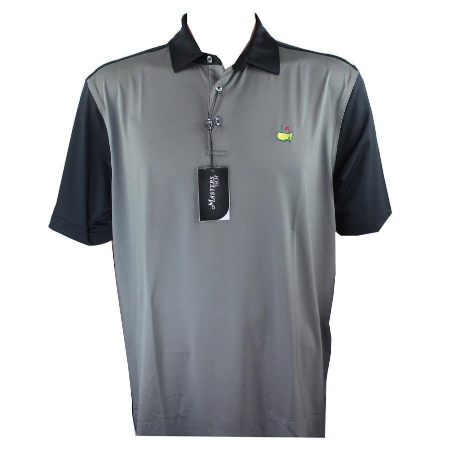 Masters Tech Golf Shirt - Black/Grey Block