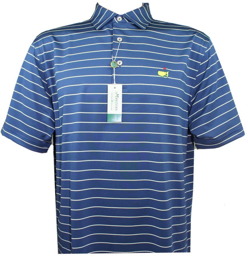Masters Peter Millar Navy & Gold Stripe Performance Tech Golf Shirt