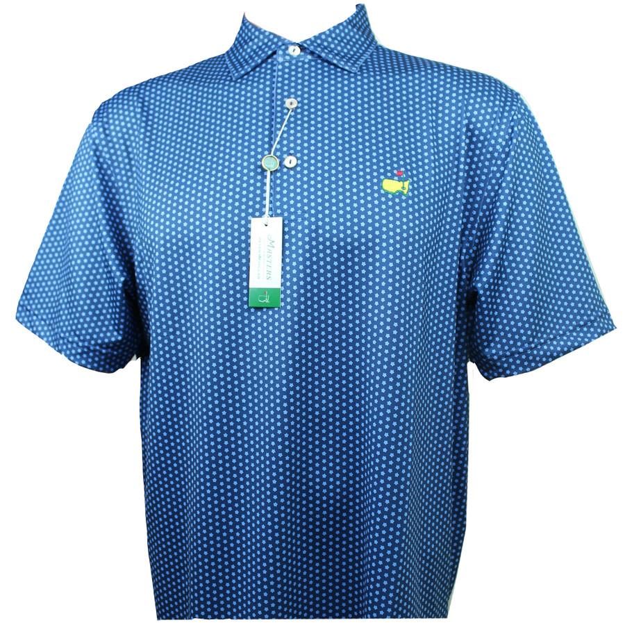 Masters Peter Millar Performance Navy & Light Blue Pattern Tech Golf Shirt