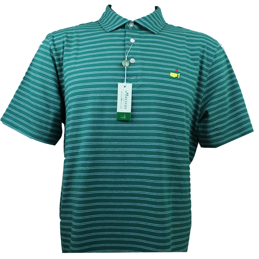 Masters Peter Millar Pine & White Striped Jersey Golf Shirt