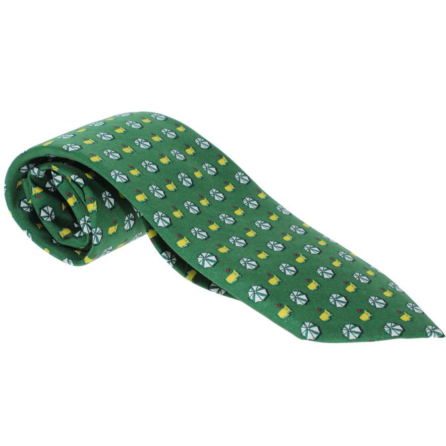 Masters Mens Neck Tie - Green Logo & Umbrella