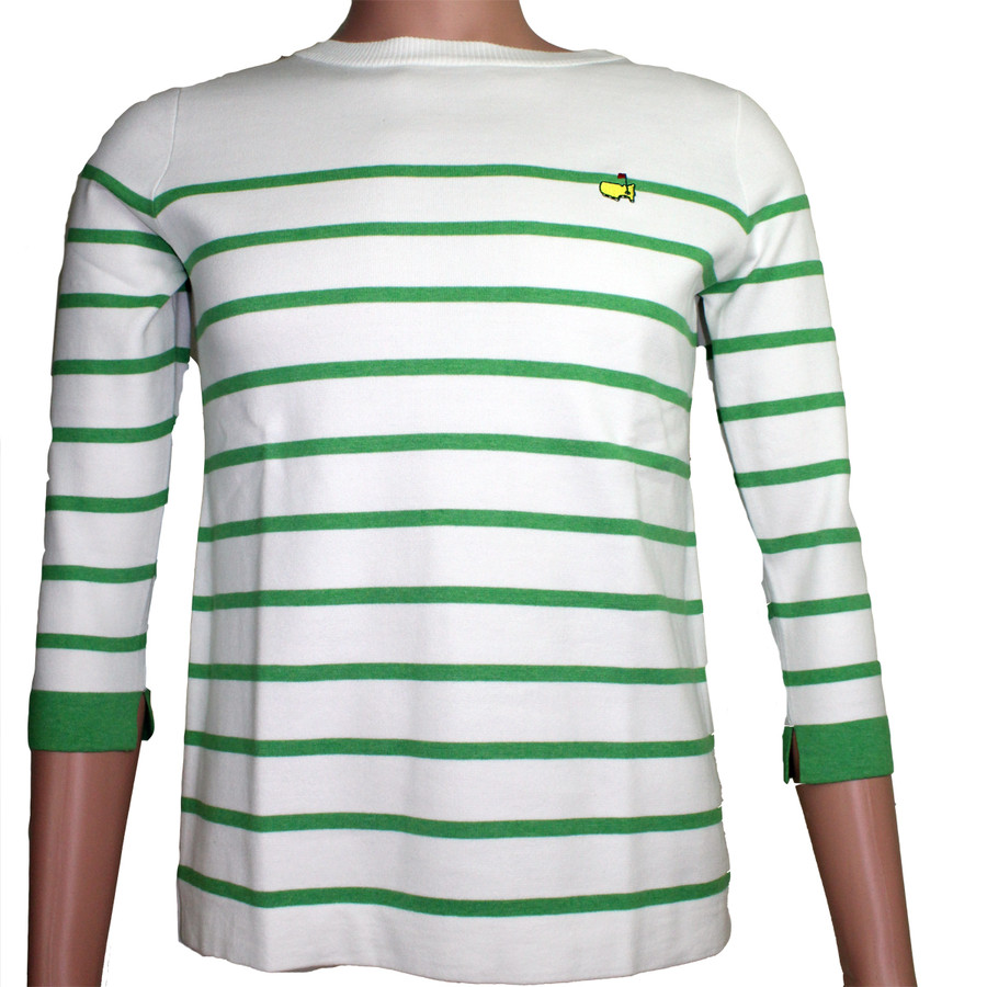 Masters Magnolia Lane White Sweater with Green Stripe