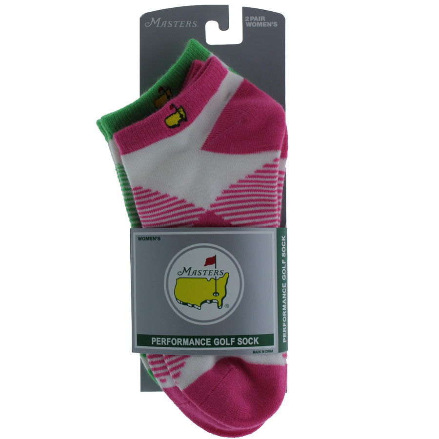 Masters Ladies Socks - 2 Pair - Lime & Pink
