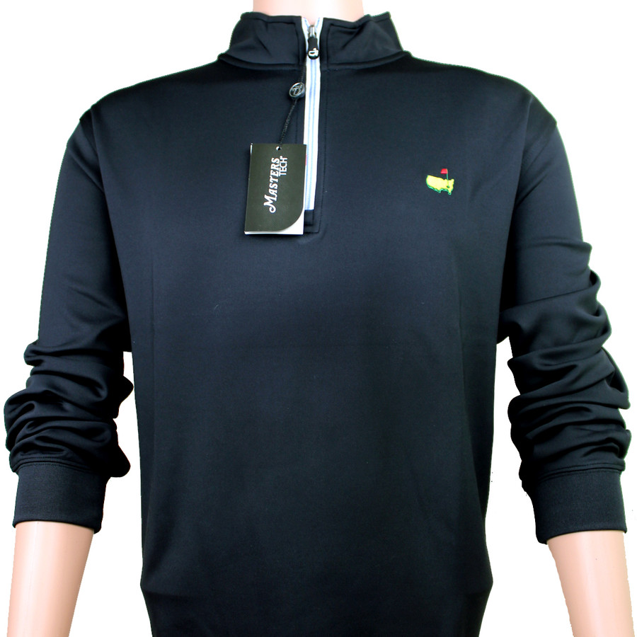 Masters Black Performance Tech 1/4 Zip Pullover with Blue