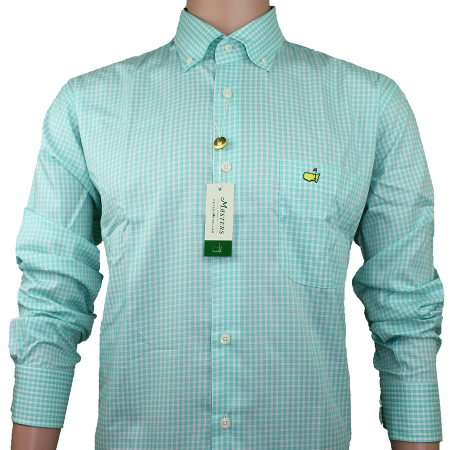 Masters Peter Millar Dress Shirt - Tea Olive Checkered