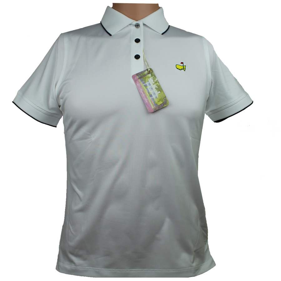 Masters Magnolia Lane White & Navy Performance Tech Golf Shirt