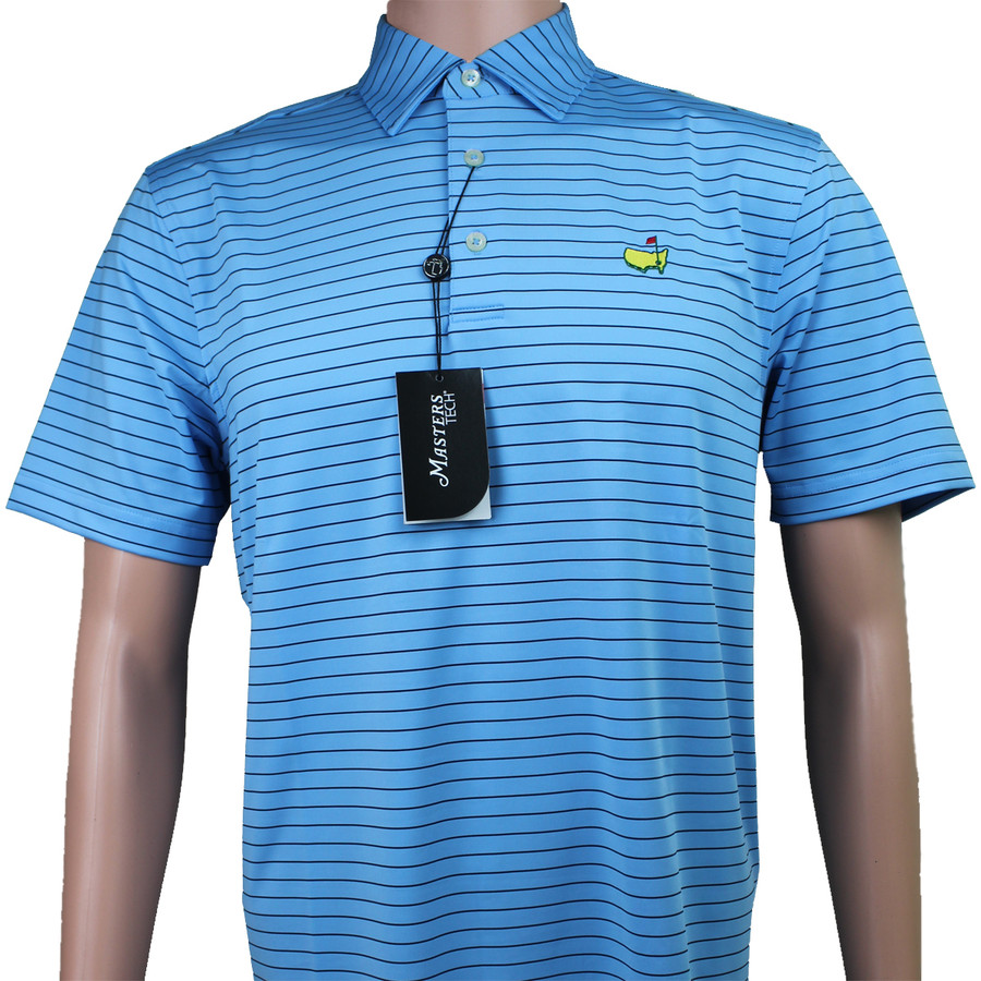 Masters Light Blue & Navy Striped Performance Tech Golf Shirt