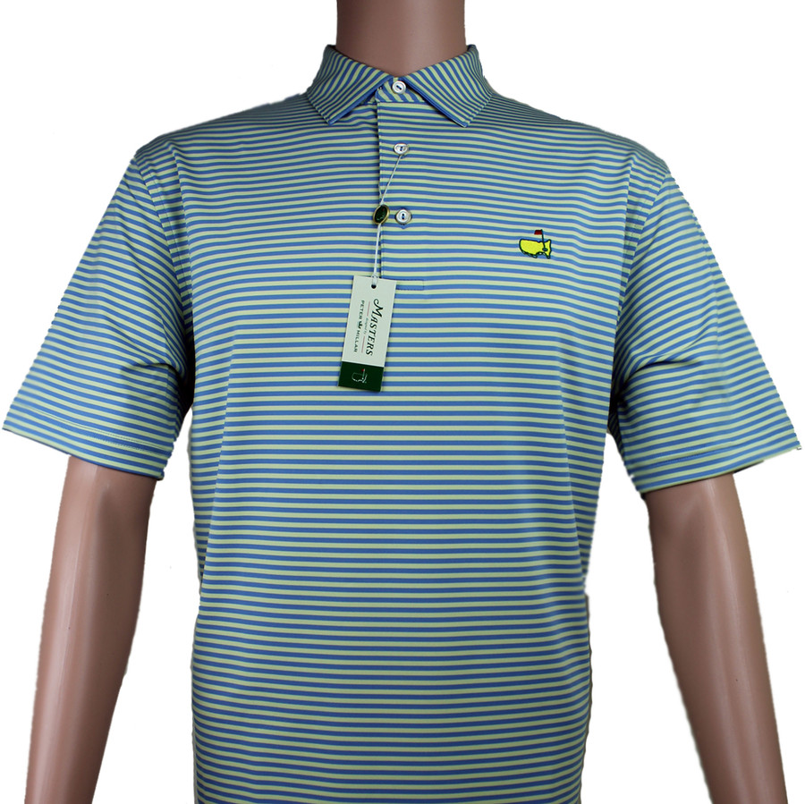 Masters Peter Millar Yellow & Blue Striped Performance Tech Golf Shirt