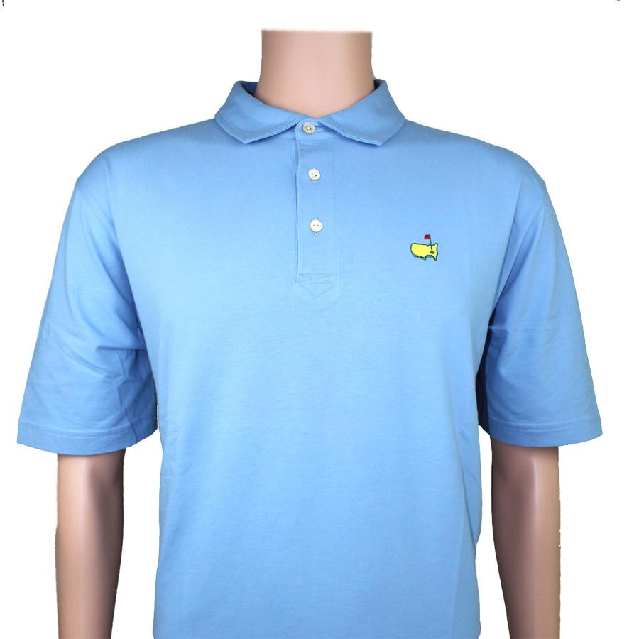 Masters Peter Millar Light Blue Jersey Golf Shirt