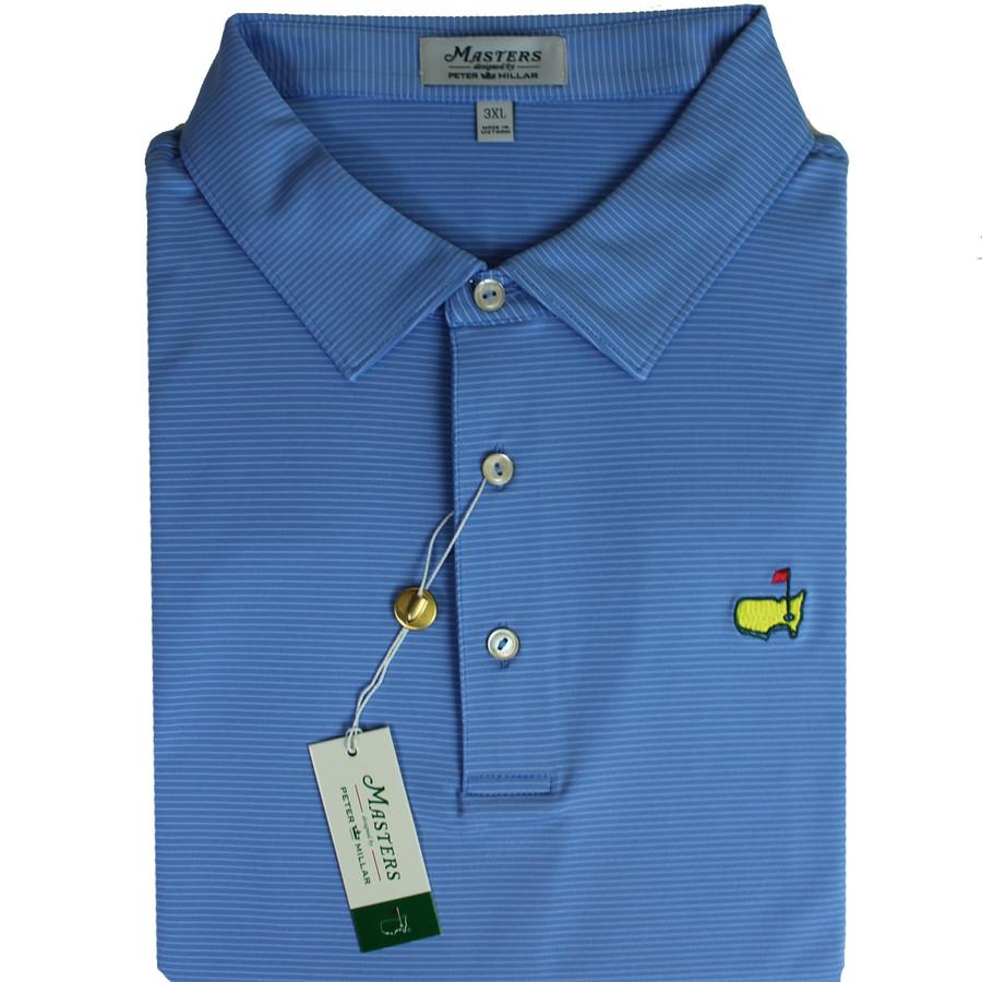 Masters Peter Millar Light Blue & White Stripe Performance Tech Golf Shirt
