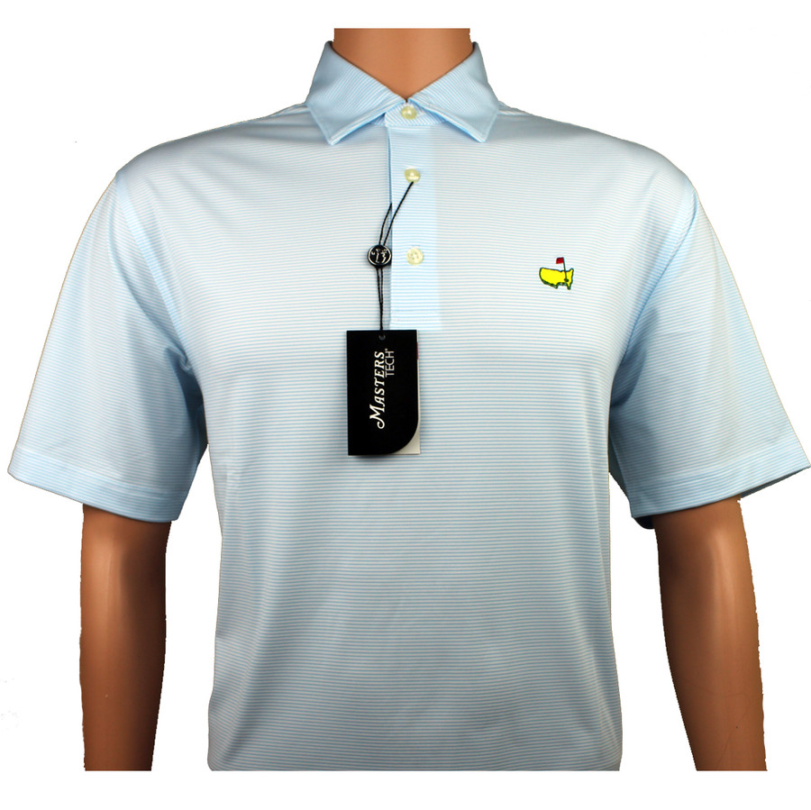 Masters Performance Tech White & Light Blue Golf Shirt