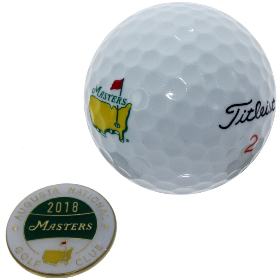 Masters 2018 and 2017 Single Ball Markers with Masters Logo Titleist Velocity Golf Ball