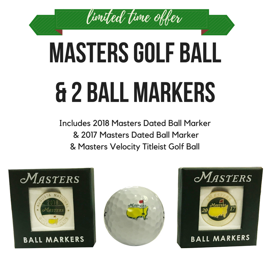 Masters 3 Bundle -Titleist Golf Ball, 2017 & 2018 Ball Markers