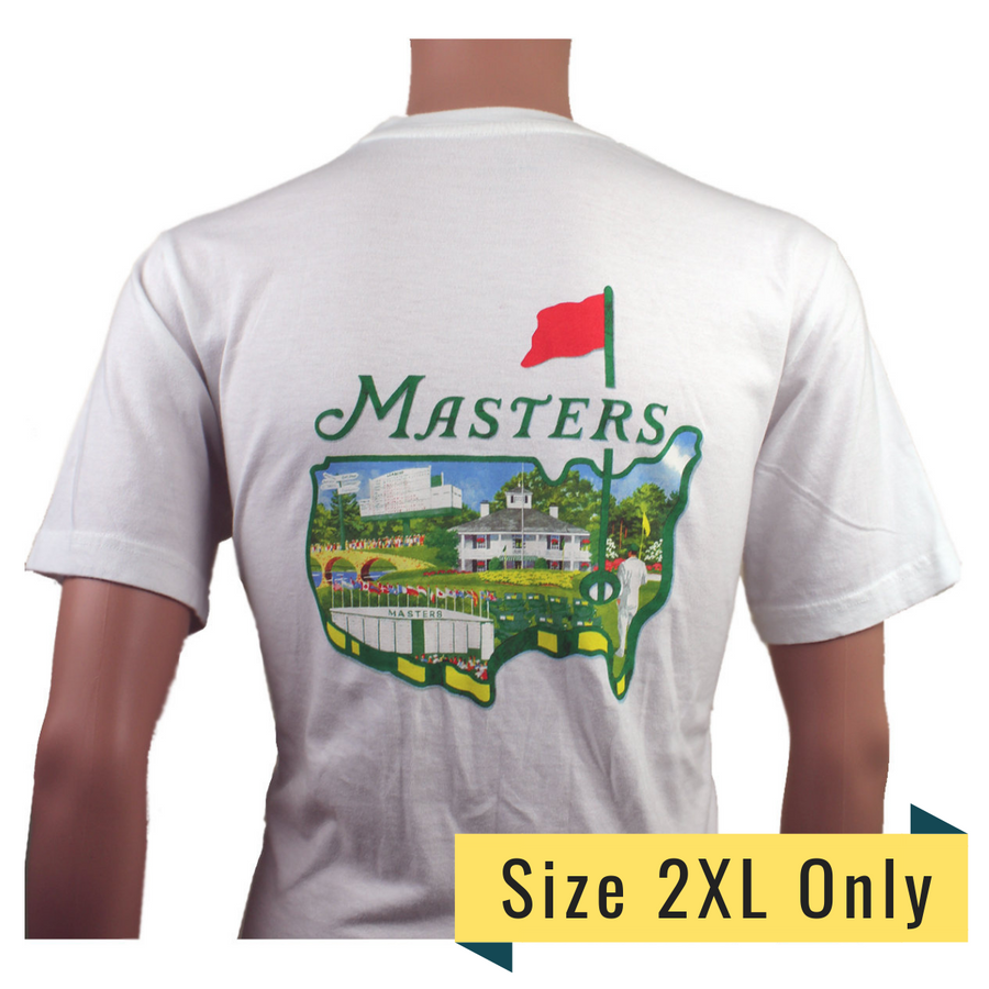 Masters Small Logo White T-Shirt with Collage Logo on Back