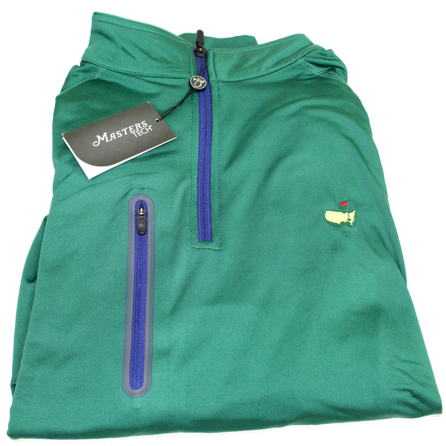 Masters Performance Tech Green 1/4 Zip with Blue Zipper