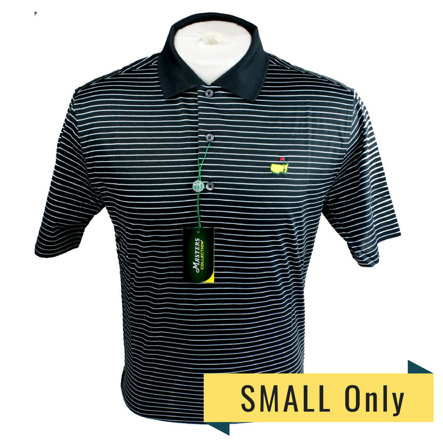 Masters Jersey Black and Light Blue Striped Polo