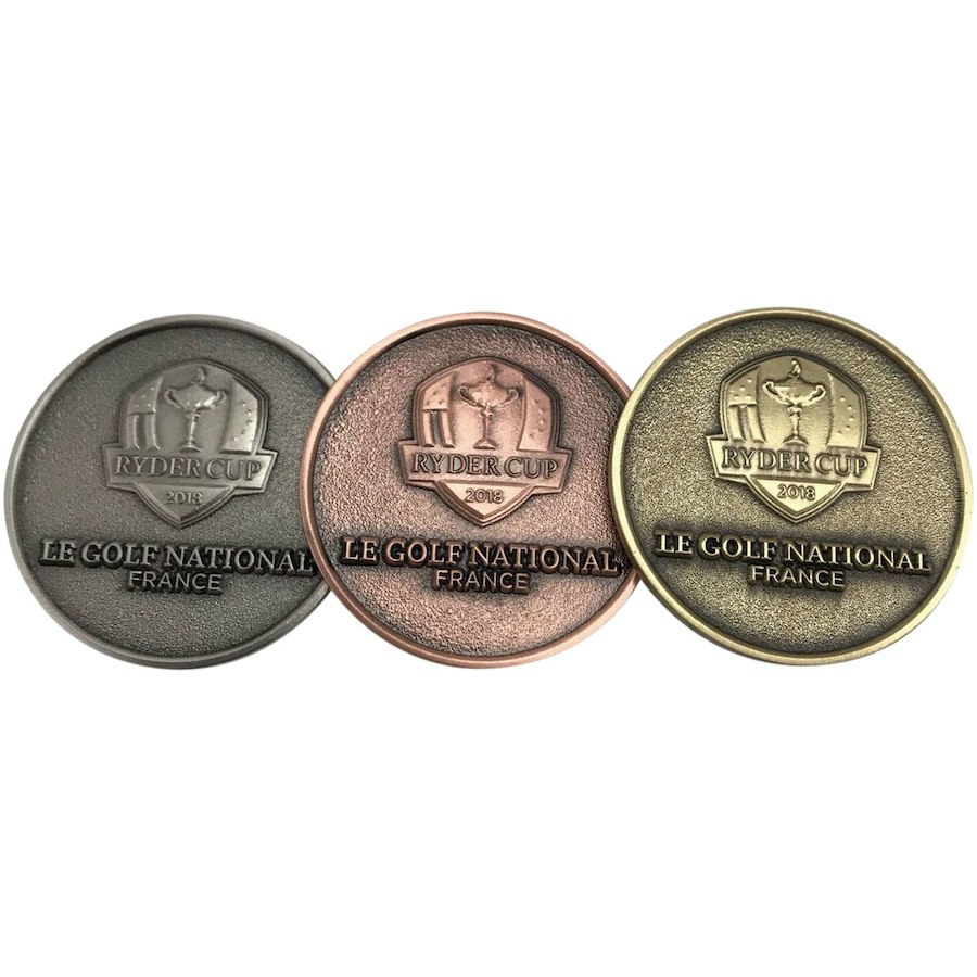 2018 Ryder Cup 3 Piece Coin Set raised logo side