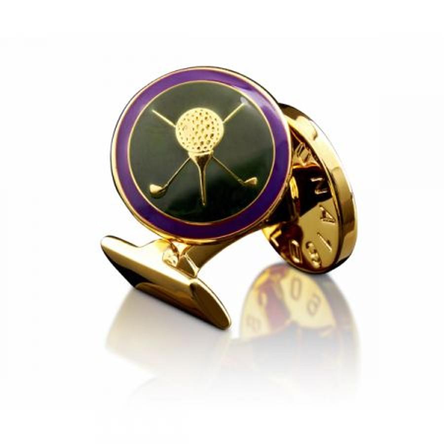 Gold & Purple Golf Cuff Links