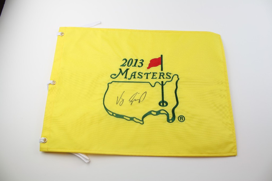 2013 Authentic Augusta National Masters Pin Flag - Autographed by Vijay Singh