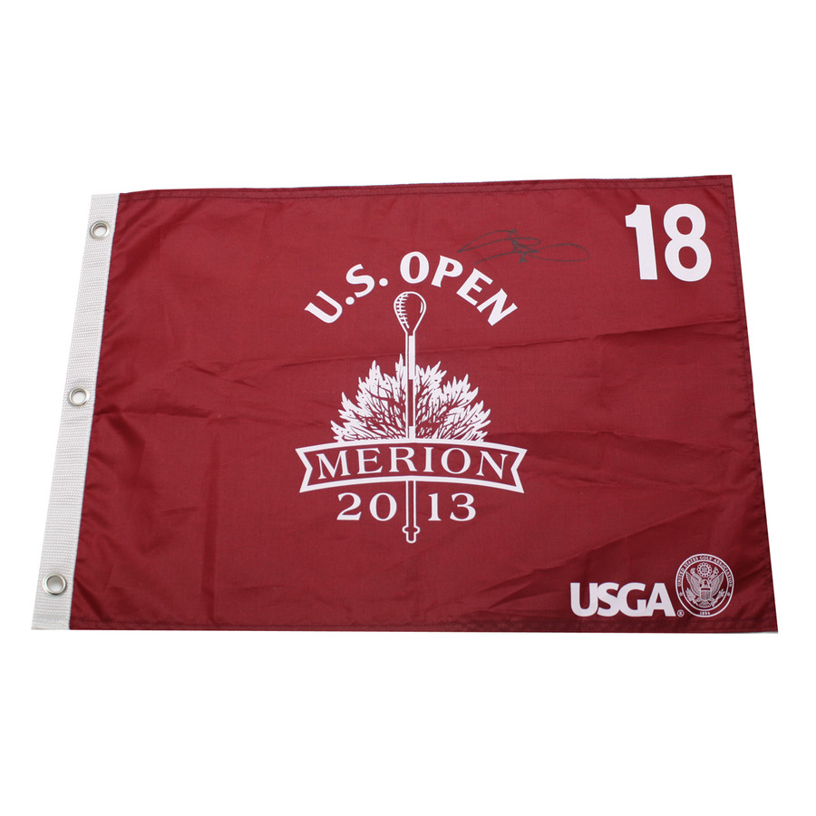Justin Rose Autographed 2013 US Open Pin Flag Screen Print Red