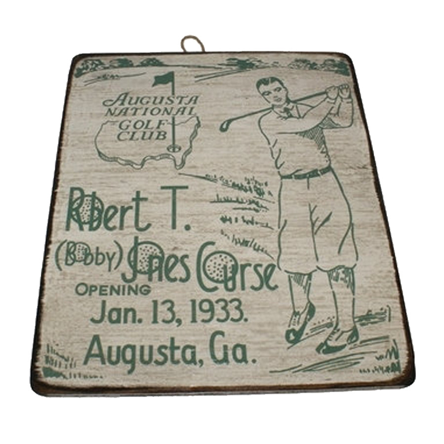 Masters Wooden Sign Bobby Jones Course White
