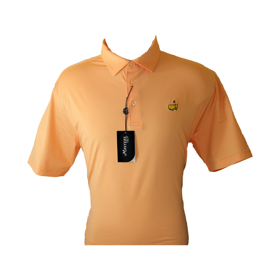 Masters Performance Tech Golf Shirt - Orange & White Striped