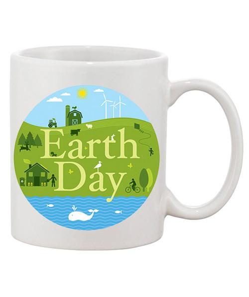 Earth Day Ceramic Coffee Mug /Homey Look To Help Celebrate The Earth