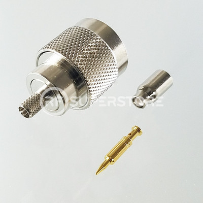 N Male Connector Crimp Attachment Coax RG174, RG188, RG316, Nickel Plating